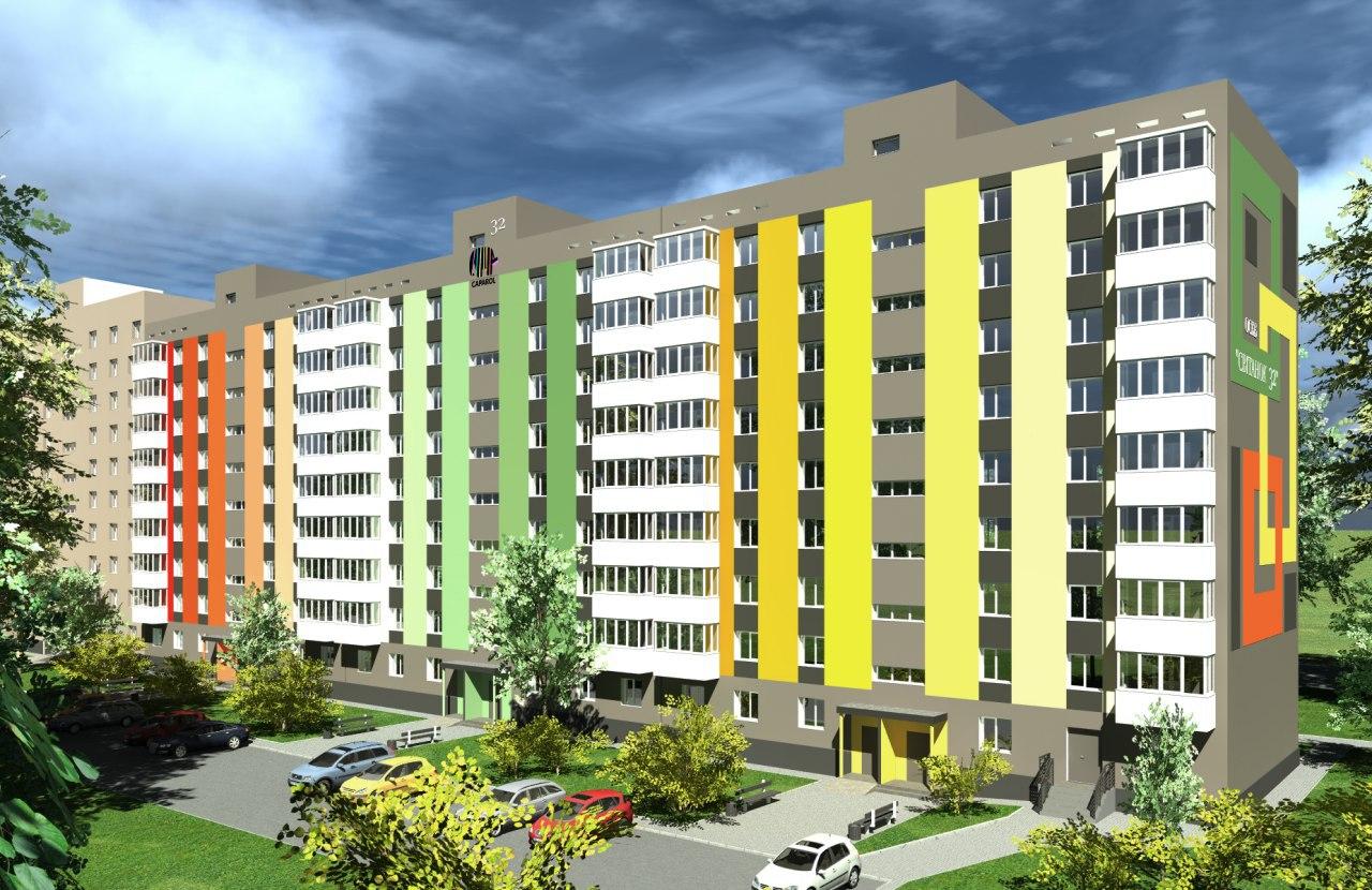 Дизайн-проект цветового решения фасада девятиэтажного жилого дома